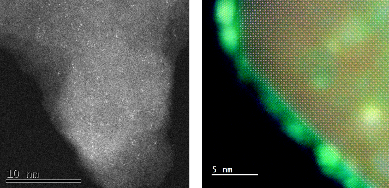 Images of heterogeneous catalytic supports with metal nanoparticles
