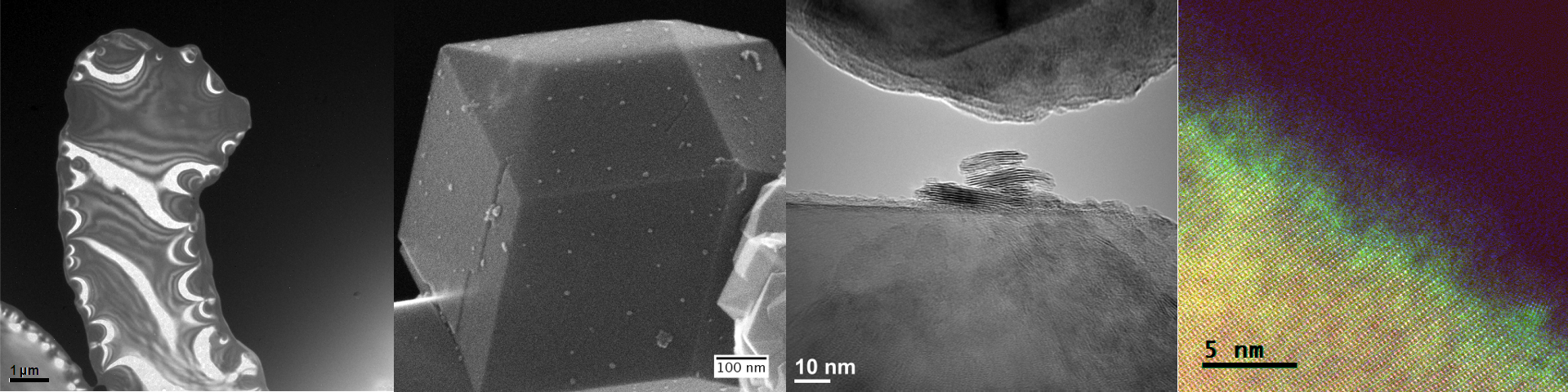 Banner of several TEM and SEM images
