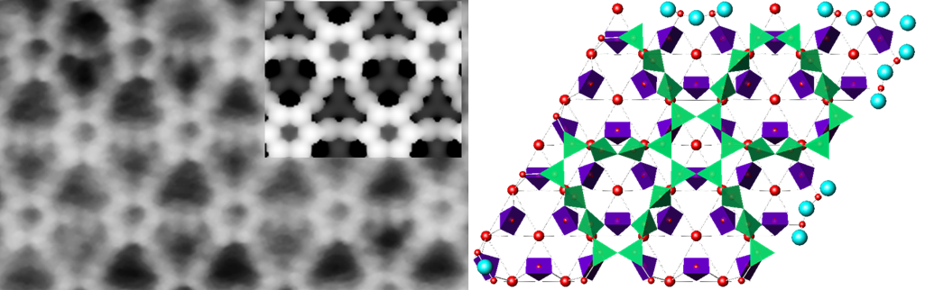 Experimental and simulated images of oxide surfaces